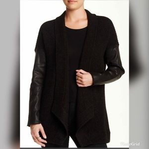 Eileen Fisher Woman Leather Wool Cardigan Sweater